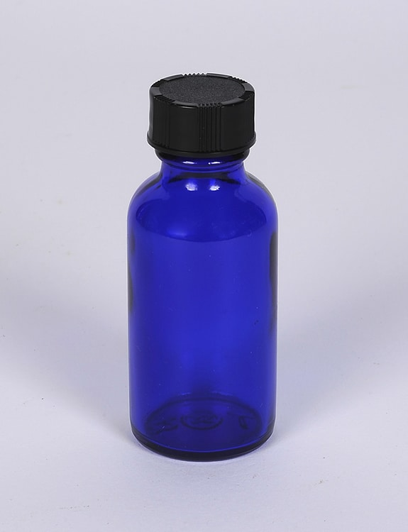 1 oz Cobalt Blue Glass Boston Round 20-405 Finish