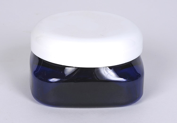 4 oz Cobalt Blue PET Firenze Square Jar 70-400 Finish