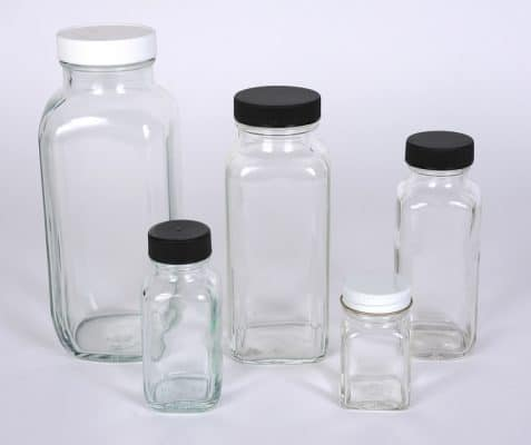 Glass French Square Bottles