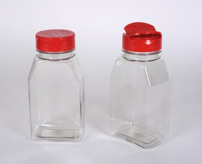 16 oz. CLEAR PET Plastic Oblong Spice Jars w/ 53-485 Finish