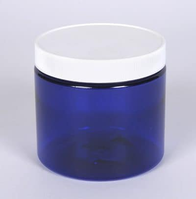 16 oz. PET Cobalt Blue Straight Sided Jar w/ 89-400 Finish