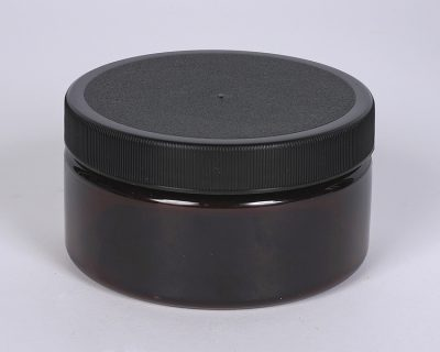 8 oz. AMBER PET Straight Side Jar w/ 89-400 Finish