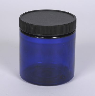 8 oz. Cobalt Blue PET Straight Sided Jar w/ 70-400 Finish