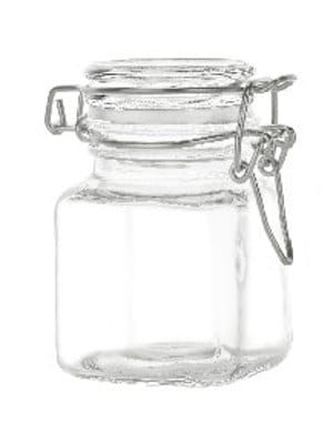 4 oz Square Flint Glass Jar with Bale-Type Closure